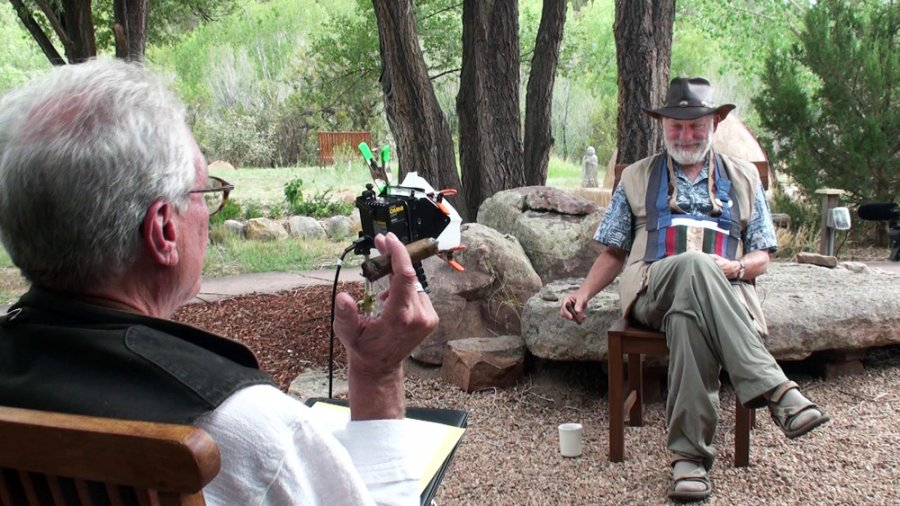 Roshi Bernie Glassman being interviewed in Santa Fe